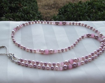 Pink Pearl ID Badge Lanyard Swarovski Rose Pearl Lanyard Necklace ID Badge Holder
