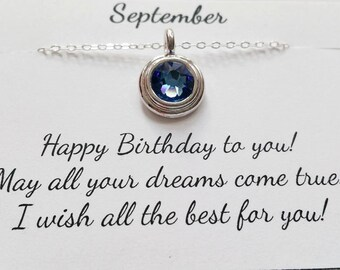 September Birthstone Necklace - Sapphire Sterling Silver Chain Necklace, September Birthday Gift, Birthstone Necklace
