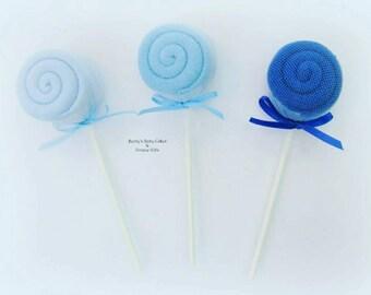Baby Washcloth Lollipop, Baby Washcloth, Baby Shower Decoration, Baby Boy Gift, Boy and Girl Baby Shower Decoration, Baby Washcloth Gift