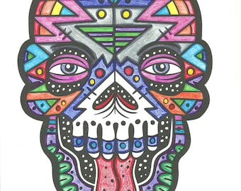 Geometric Colored Sugar Skull Digital Print