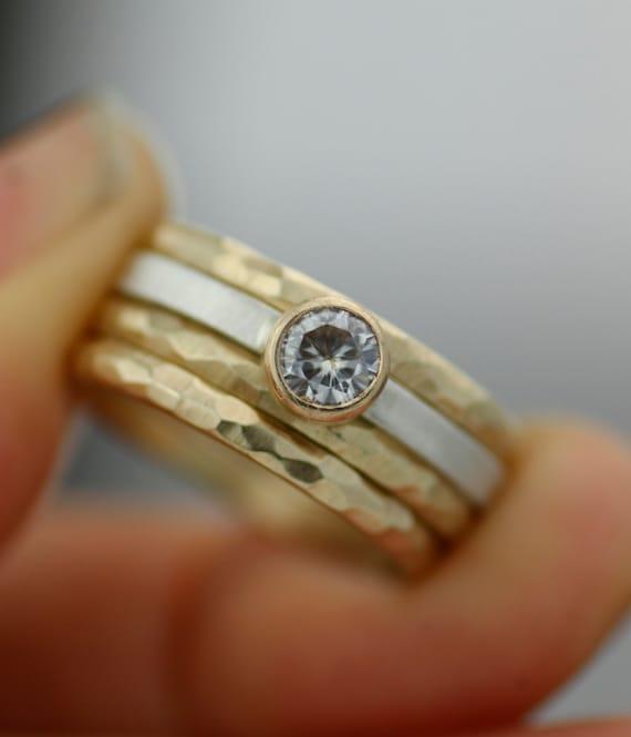 womens wedding ring set stacking rings modern