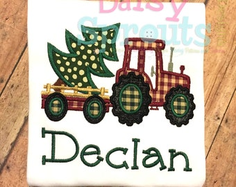 Tractor Pulling Tree Machine Applique - Instant Download