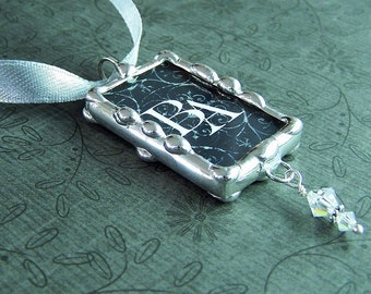Bride bouquet charm initials monogram photo soldered glass customized