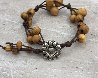 Women's Beaded Bracelet Wooden Bead Bracelet Knotted Boho Bracelet Wooden Jewellery Gift For Women