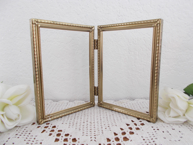 Metal Oro vintage con bisagras marco 2 plegable doble cara foto 5 x ...