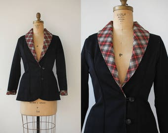 vintage 1970s blazer / 70s black blazer / 70s suit jacket / 70s polyester blazer / plaid trim blazer / fitted blazer / large extra large XL