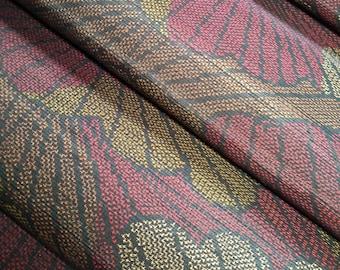 Vintage Japanese tsumugi earth tone abstract silk - by the yard