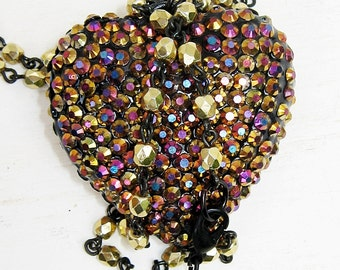 Rhinestone Heart Necklace, Puffed Heart Necklace, Pink, Gold, Blue, Purple, Pendant Necklace,  Heart Necklace, Colorful Heart, Large Heart