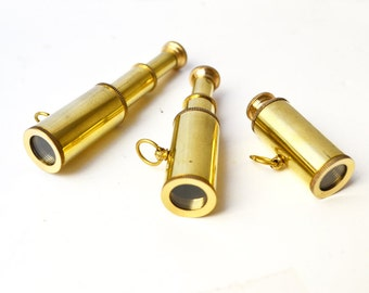 Brass Telescope Charm Pendant - 1 PC