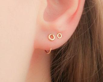 Hugging hoop earrings-Hugging hoops-Tiny Hugging Hoops-Hug Earrings-Minimalist Fashion Jewelry-Simple Hug Earrings-Hand Made-Gift