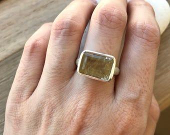 Rectangle Quartz Statement Ring- Gold Rutile Quartz Ring- Alternative Engagement Ring- Hair of Venus Ring- Rutilated Quartz Ring