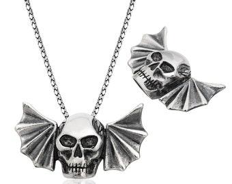 Silver Skull Necklace - IJ1-1860