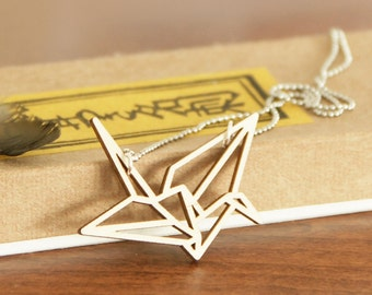Origami crane necklace ~ Laser cut from birch wood ~ Geometric pendant ~ Gift boxed
