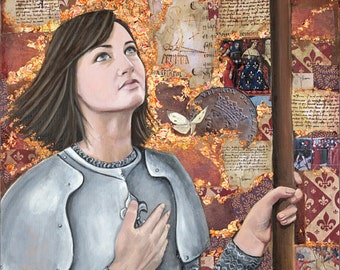 """Jeanne d'Arc - The Maid of Orleans- 6.5"""" x 12/5"""" digital print 1/2 inch border"""
