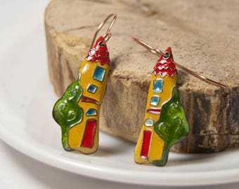 House Earrings, Copper Earrings, Glass Earrings, Enamel Houses, Yellow and Red, Yellow Houses