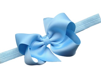 Light blue baby headband - baby headbands, baby headband bows, baby girl headband, baby bows, newborn headband, bows, baby bow headband