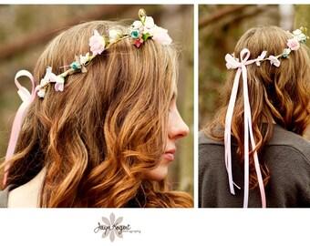 Bridal Hair Wreath Wedding Accessories flower crown pale Pink silk flowers spring photo prop halo