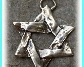 Artisan Star of David Sterling Silver Pendant