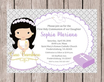 PRINTABLE Girls First Holy Communion Invitation in Lavender and Silver Gray / Print Your Own / Choose Hair & Skin Color / You Print - HC01