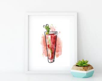 DIGITAL DOWNLOAD, Bloody Mary Bar Sign, Restaurant Wall Art, Bar Cart Art, Kitchen Bar Art, Bloody Mary Print, College Apartment Decor,