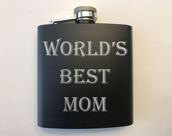 Mother's Day Gift - Gift for Mom - Flask for Mom - World's Best Mom - World's Best Mom Flask - Flask For Dad - Gift For Dad - Gift For Him