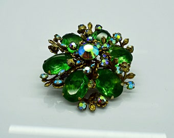 Green and Aurora Borealis Rhinestone Brooch