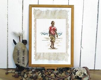 Beach boy cross stitch chart | Counted cross stitch | PDF Download | African cross stitch | Spirit of Africa | Holiday travel | Lazy days