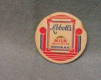 Abbott's Milk Hudson N. H. Milk Bottle Cap
