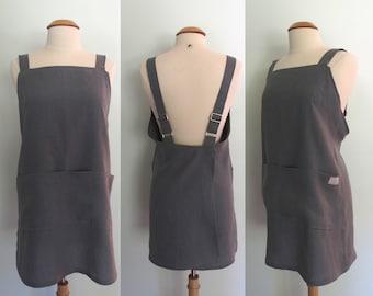 Dark Gray Japanese Apron, Adjustable, Garden Apron, Artist Apron, Slate Gray Linen, Pinafore, Wrap Apron, Short or Long Length, Gift for Her