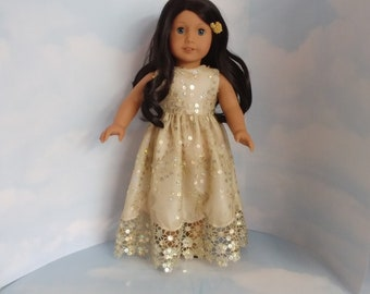 Gold Vintage Sequin Gown 18 inch doll clothes - #206