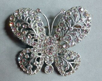 Very old Art Deco butterfly brooch with clear rhinestones