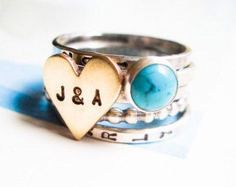 Love Is Golden & Blue Personalized Stacking Ring in Sterling Silver and Turquoise