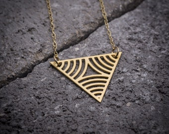 Geometric necklace, gold triangular pendant, Triangle necklace, triangle pendant, unique necklace, gift under 50, 14K gold, gift for her.