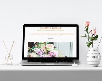 Styled Stock Photography - Macbook Pro Laptop Mockup with Roses and Perfume - Add your web design or message - Macbook Mockup - Stock Photo