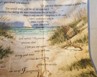 Footprints In Sand Cloth Hanging