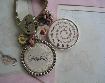 Personalized Grandma's Keychain, moms, teachers, niece, daughter, auntie