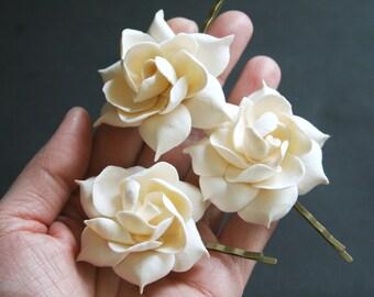 Peach gardenia  Bridal flower clip Bridal Flower Pin Bridal hair flower Wedding hair clip Flower hair accessory