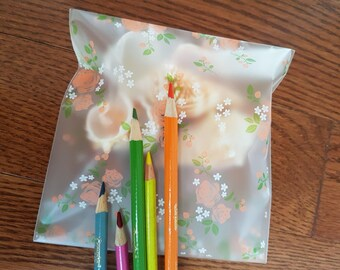 20 Frosted self sealing bags, peach roses self adhesive bags, self seal cellophane bags, cookie bags, baking supplies, loot bags, floral bag