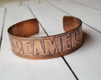 """Dreamer Etched Copper cuff 1/2"""""""