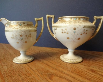 Hand-painted Japanese creamer and sugar bowl