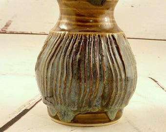 Ceramic Vase - Stoneware Flower Container - Rustic Bouquet Holder - Iron Brown / Jade Green - Centerpiece - Ready to Ship - Gift Item  v635