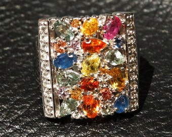 Multicolor Sapphire Ring Sterling Silver Vintage Fabulous