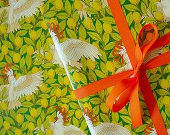 Gift Wrap Cockatoo // Wrapping Paper, Bird, Illustration, Parrot, Lemon Tree, Yellow, Green, Orange, Australian Bird, Exotic Bird, Lemons