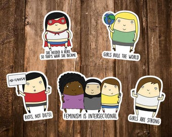 Feminist Sticker Pack - Riots not Diets/She Needed a Hero/Girls Rule/Intersectional Feminism Gift/Feminist Laptop Stickers/Feminist Gifts