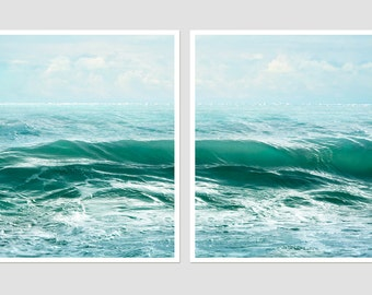 Sea waves print Blue art set Ocean photography Large wall art 2 set print Blue landscape print set Turquoise abstract Water poster set 16x20