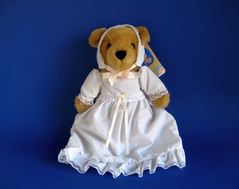 Vintage Keepsake Bear Stuffed Animal by Dakin Baby Things White Cotton Christening Gown Bonnet Teddy Bear 1990s Toys Baby Gift Plush