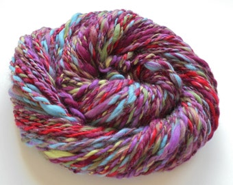 TWO SISTERS Handspun Yarn, Merino Yarn, Rose Pearl Fiber, Bamboo Handspun, 2-Ply Super-Bulky Handspun Yarn, Chunky Knitting Yarn, Weaving