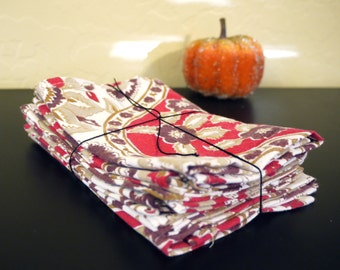 Informal Cloth Napkins. Recycled Fabric.  Set of 6.