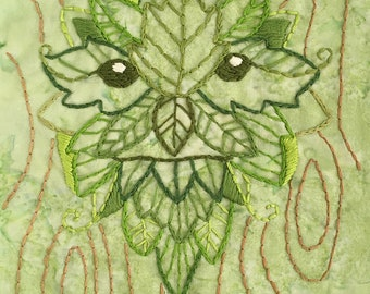 DIY Green Man Embroidery Pattern PDF download hand embroidery patterns designs