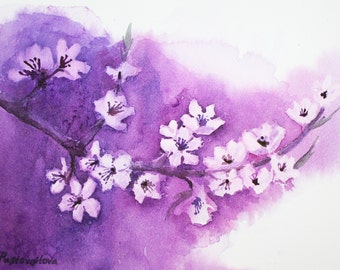 Cherry Blossom - Original Watercolor Painting, Spring Flowers Watercolor Art 9 X 12 in